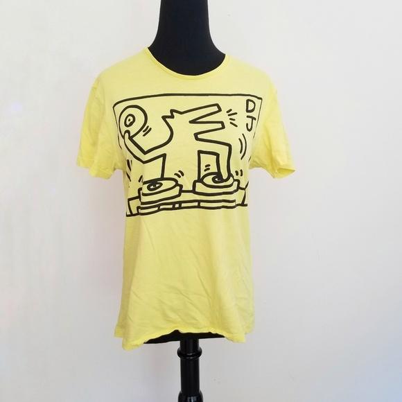 4cea4eac Zara Tops | X Keith Haring Yellow Dj Tee Medium | Poshmark